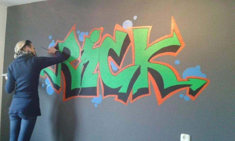 muurschildering naam Rick