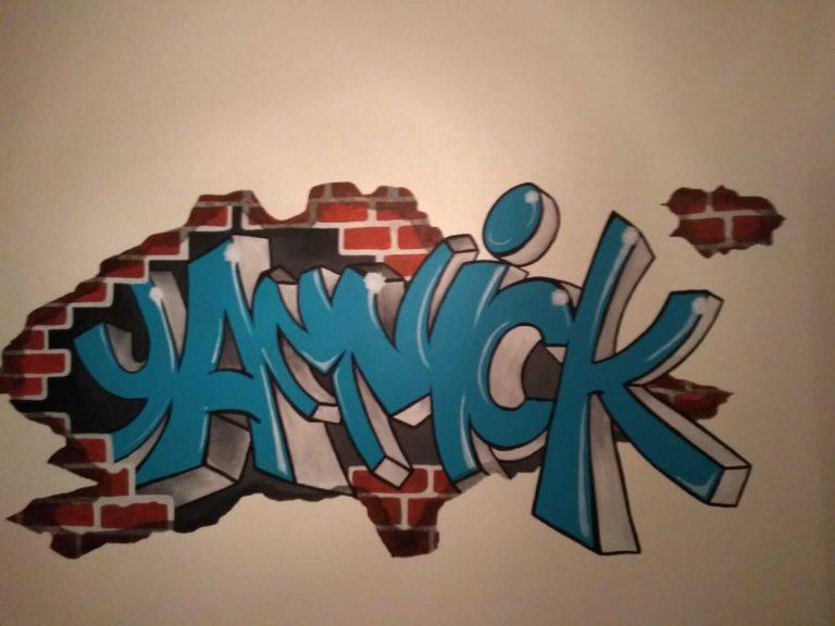 muurschildering naam Yannick 2