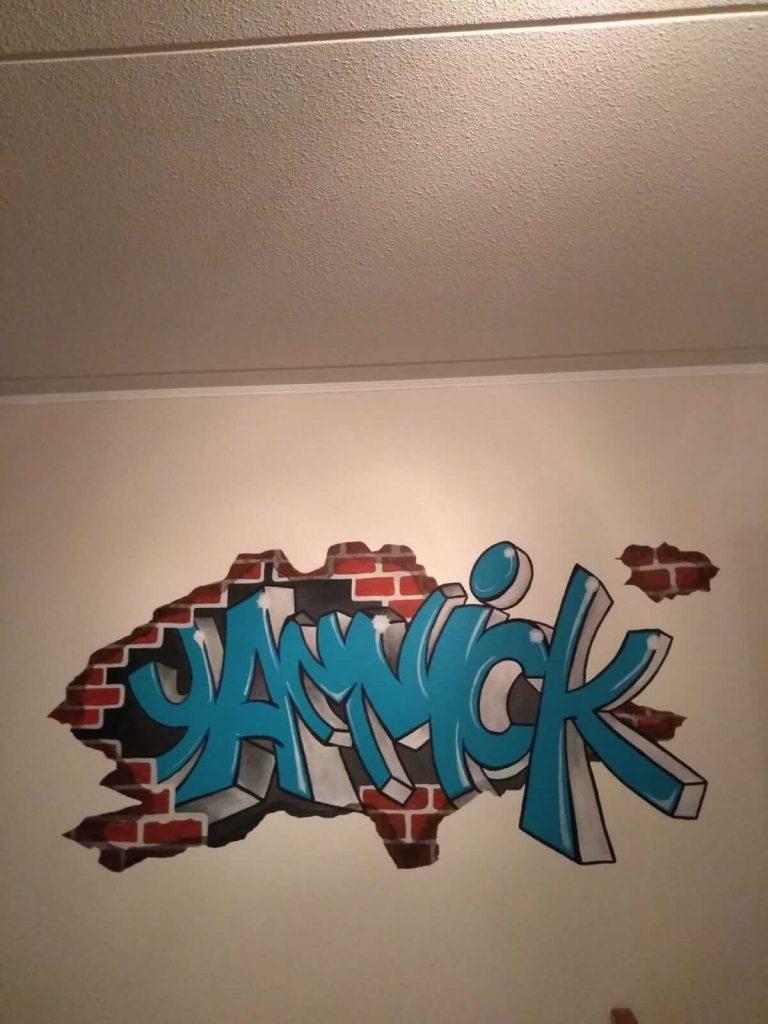 muurschildering naam Yannick